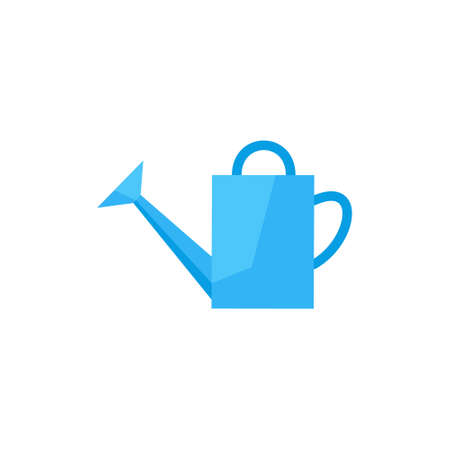 watering pot: flat icon watering-can. watering can to water plants. garden tools watering-pot. watering can vector illustration. watering pot Illustration