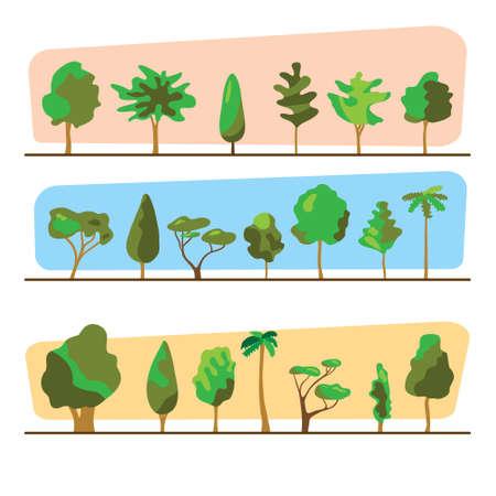 Hout set illustratie. Bomenreeks, buitenontwerpinzameling. Verschillende vormen van bomen. Planten collectie vectorillustratie.