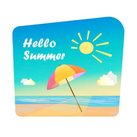 Hallo zomer - citaat, parasol op zand, in de buurt van de zee. Ogenblik van de zomer.