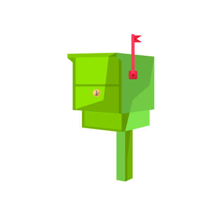 postbox: Postbox image in the cartoon style. Mailbox vector illustration. Letter-box isolated on a white background. Mailbox of flat style.