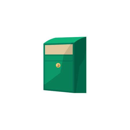 beeld Postbox in de cartoon-stijl. Mailbox vector illustratie. Brievenbus die op een witte achtergrond. Mailbox van vlakke stijl.