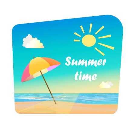Zomertijd - citaat, parasol op zand, in de buurt van de zee. Ogenblik van de zomer. Cartoon stijl.