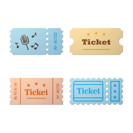 stub: Ticket icon in the cartoon style. Ticket vector illustration. Ticket stub isolated on a background. Retro cinema tickets. Tickets concept icon. Ticket of flat style.
