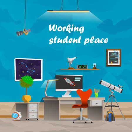 Werkende student plaats. Ruimte en astronomie. Werkplekconcept in plat design cartoon stijl. Office werkplek interieur. Business Objects, elementen apparatuur. Web banner. Terug naar school.
