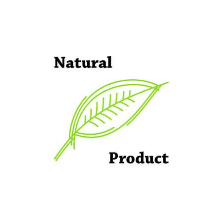 Natuurlijk product, biologisch label. Eco product, groene blad label Stock Illustratie