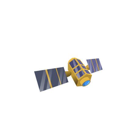 Beeldruimte satelliet in baan, platte stijl. Satellietmodel van cartoonstijl.
