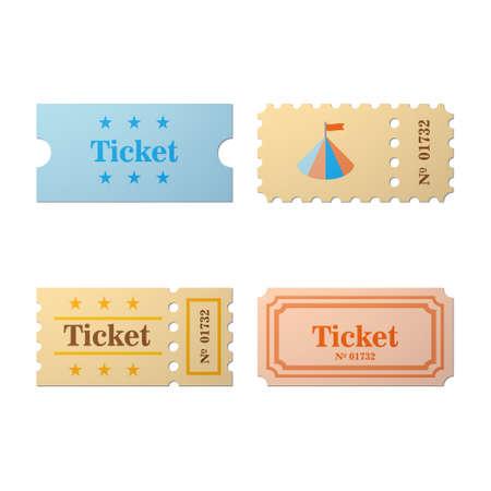 Ticket icon in de cartoon-stijl. Ticket illustratie. Kaartjesstomp geïsoleerd op een achtergrond. Retro bioscoopkaartjes. Tickets concept pictogram. Ticket van vlakke stijl.