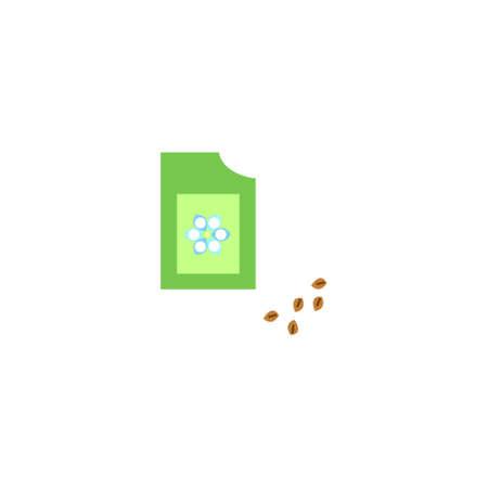 Afbeelding van verpakkingen zaden. Vlakke stijl. Verpakking zaden illustratie pictogram.