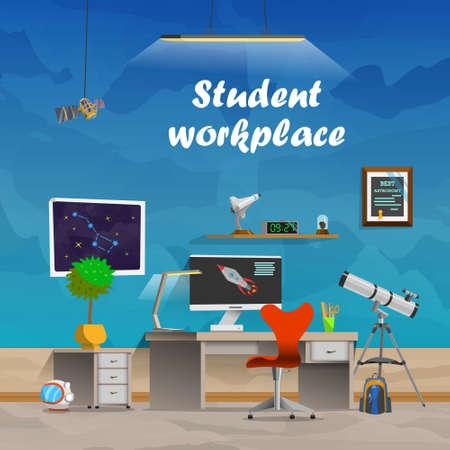Student werkplek. Ruimte en astronomie. Werkplekconcept in plat design cartoon stijl. Office werkplek interieur. Business Objects, elementen apparatuur. Web banner. Terug naar school.