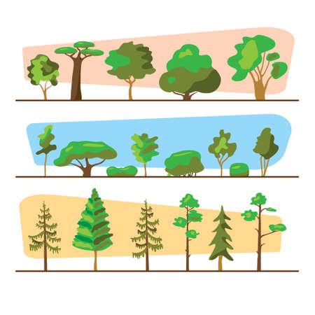 Hout set illustratie. Bomenreeks, buitenontwerpinzameling. Verschillende vormen van bomen. Planten collectie illustratie. Stock Illustratie