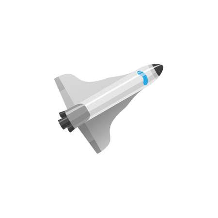 Afbeelding van raket vlakke stijl. Cartoon space shuttle model.