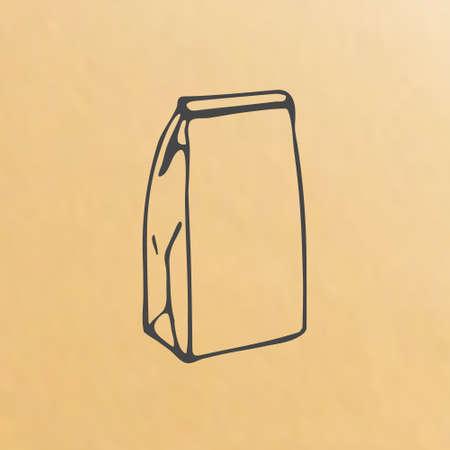 beeld van papieren zak schets verpakking handgetekende