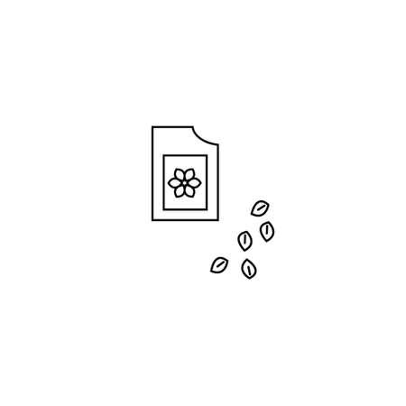 Afbeelding van verpakkingszaden. Overzicht stijl. Verpakking zaden pictogram illustratie. Stock Illustratie