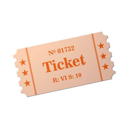 Ticket van vlakke stijl, cartoon stijl illustratie. Vintage ticket stub geïsoleerd op een achtergrond. Retro cinema kaart.