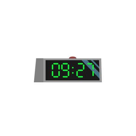 Afbeelding elektronische wekker van vlakke stijl. Klok van cartoon ontwerp illustratie Stock Illustratie