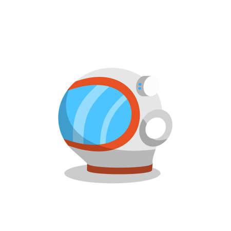 Astronaut helm flat icoon. Afbeelding van cartoon-stijl