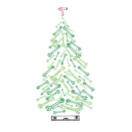 Afbeelding van kerstboomgereedschap. Kaart met sparren van moersleutels
