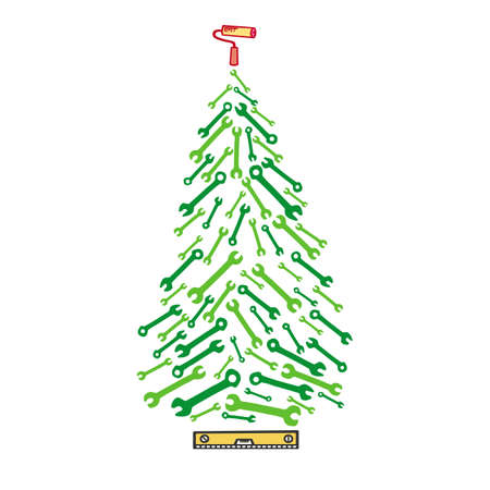 Image of Christmas tree tools. Card with spruce from wrenches
