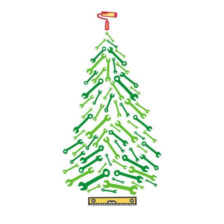 Immagine di strumenti di albero di Natale. Scheda con abete rosso dalle chiavi