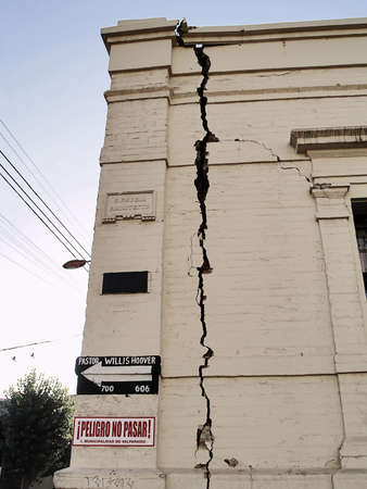 Detail of a facade showing the effects of the Chilean earthquake of february 2010