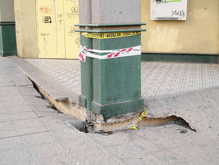 Detail of a street showing the effects of the Chilean earthquake of february 2010
