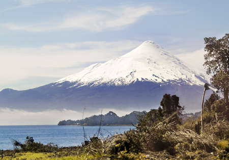 Osorno volcano behind Llanquihue lake, in the south of Chile