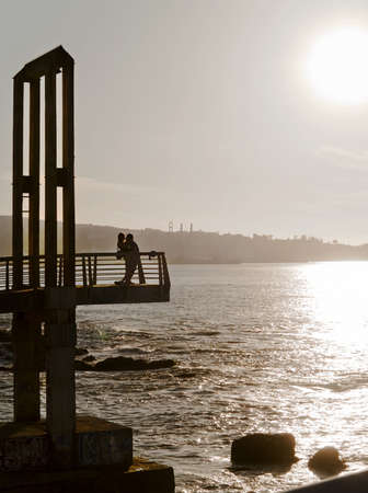 Silhouette of two lovers with sunset Stock Photo - 9195808