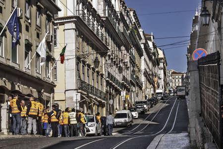 bairro: Lisbon street at Bairro Alto district. November 11, 2012 docker workers demonstration against crisis cutbacks Editorial