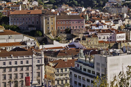 bairro: General view of Lisbon downtown, Restauradores district from Bairro Alto district Editorial