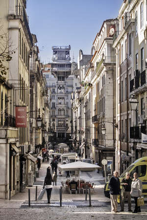 chiado: Santa Justa elevator (Raoul Mesnard, 1902) at Baixa district in Lisboa, to go up to Bairro Alto - Chiado district