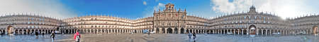 Salamanca, December 2012. Plaza Mayor panorama. Built in 1729 - 1756 on baroque style architecture, designed by Alberto Churriguera.  City of Castilla and Leon region. 150,000 population. UNESCO World Heritage Site since 1988.
