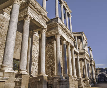 Roman Theater ruins in Merida, capital of Extremadura region in Spain   photo