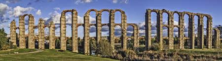 Roman aqueduct ruins in Merida, capital of Extremadura region in Spain   photo