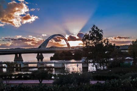 Merida, November 2012  Lusitania bridge over Guadiana river  Santiago Calatrava architect, built in 1991 on concrete and steel  480 meters  190 meters of  arch  photo