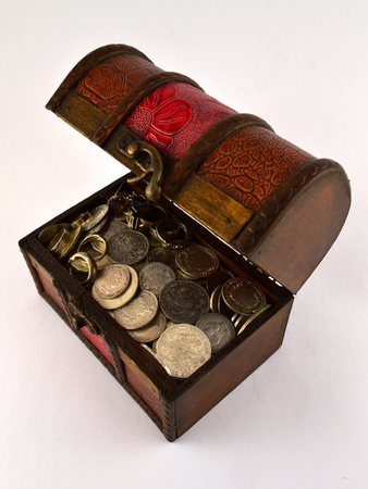 Treasure Chest With Silver coins  photo