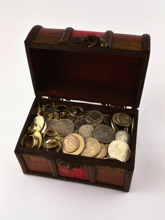 Treasure Chest With Silver coins Stok Fotoğraf - 26161945