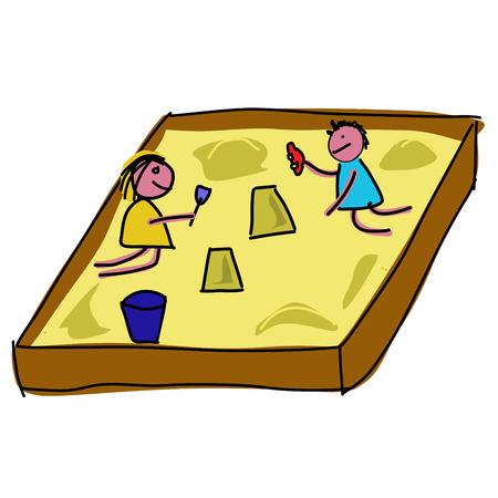 sandpit: Childs jugando en un arenero Vectores