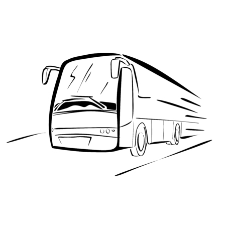 motor coach: Bus sketch Illustration