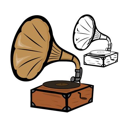 Old gramophone Vector