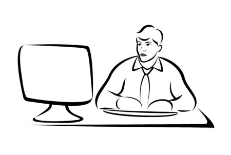 L'homme d'affaires travaillant sur ordinateur