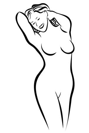 ragazza nuda: Nude Woman schizzo Vettoriali