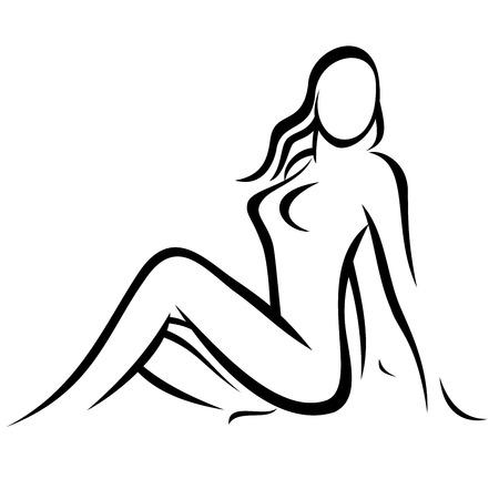 Nude Woman symbol Illustration