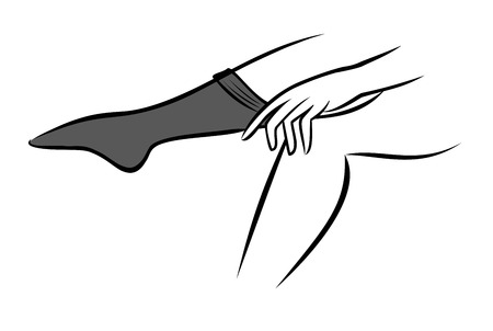 undress: Woman putting on stockings Illustration
