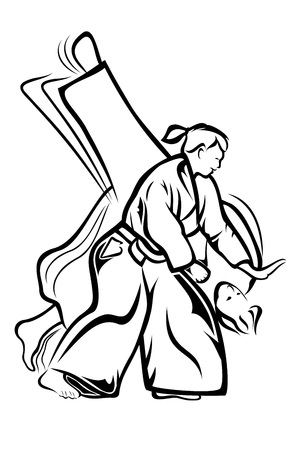 grappling: Vector illustration :Aikido on a white background. Illustration