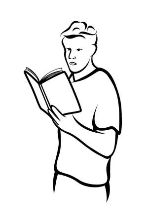 man reading: Man reading book Illustration