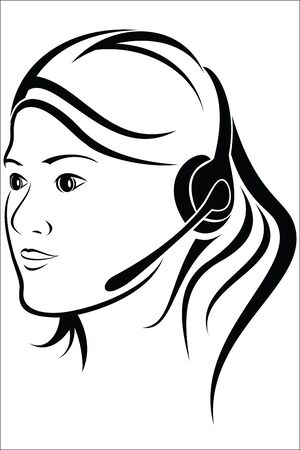 callcenter: Woman with headset in callcenter Illustration