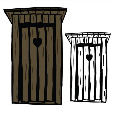 latrine: Wood toilet house