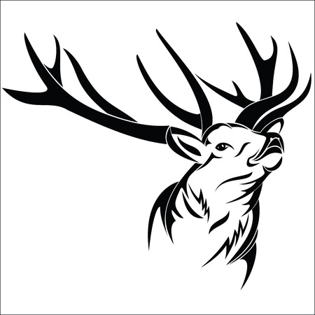 male silhouette: Cabeza de ciervo Vectores