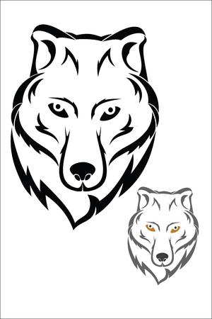 gray wolf: Wolf head symbol Illustration