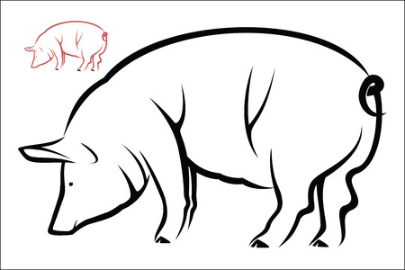 black and white farm: Pig symbol